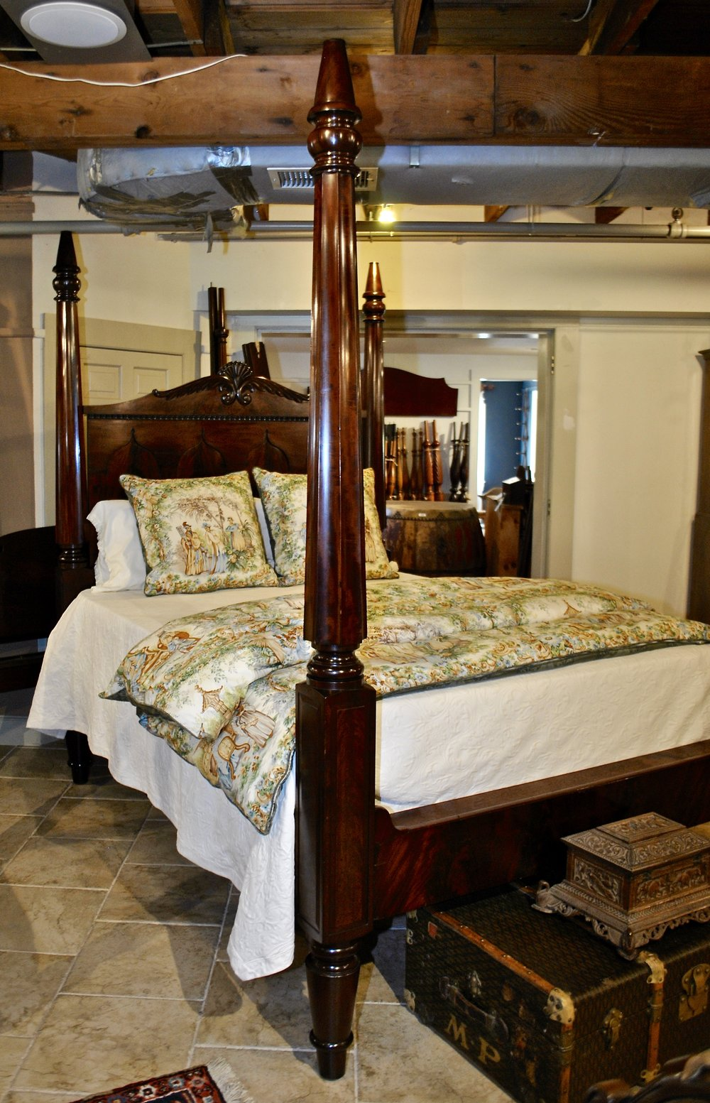New York Empire Tall Post Bed Original Flame Mahogany Headboard, Circa 1850  ~ Resized To Queen