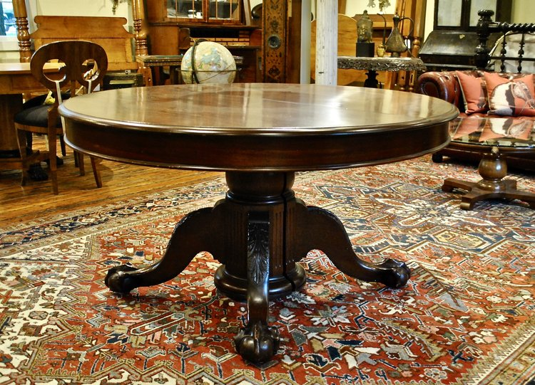 Empire Dining Table With Split Pedestal Base In Mahogany Circa 1850 Leonards Antiques