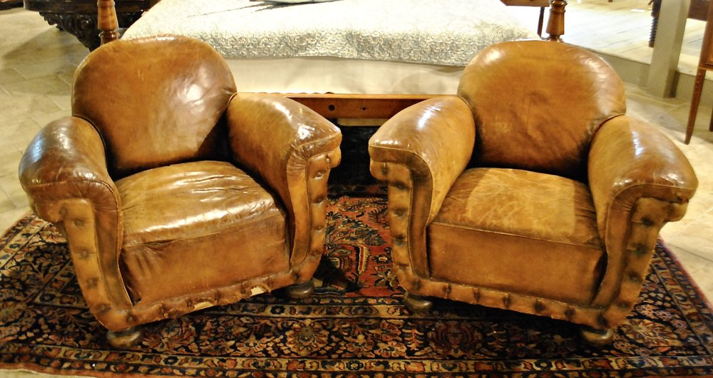 Pair Over Stuffed Leather Club Chairs With Brass Nailhead Trim