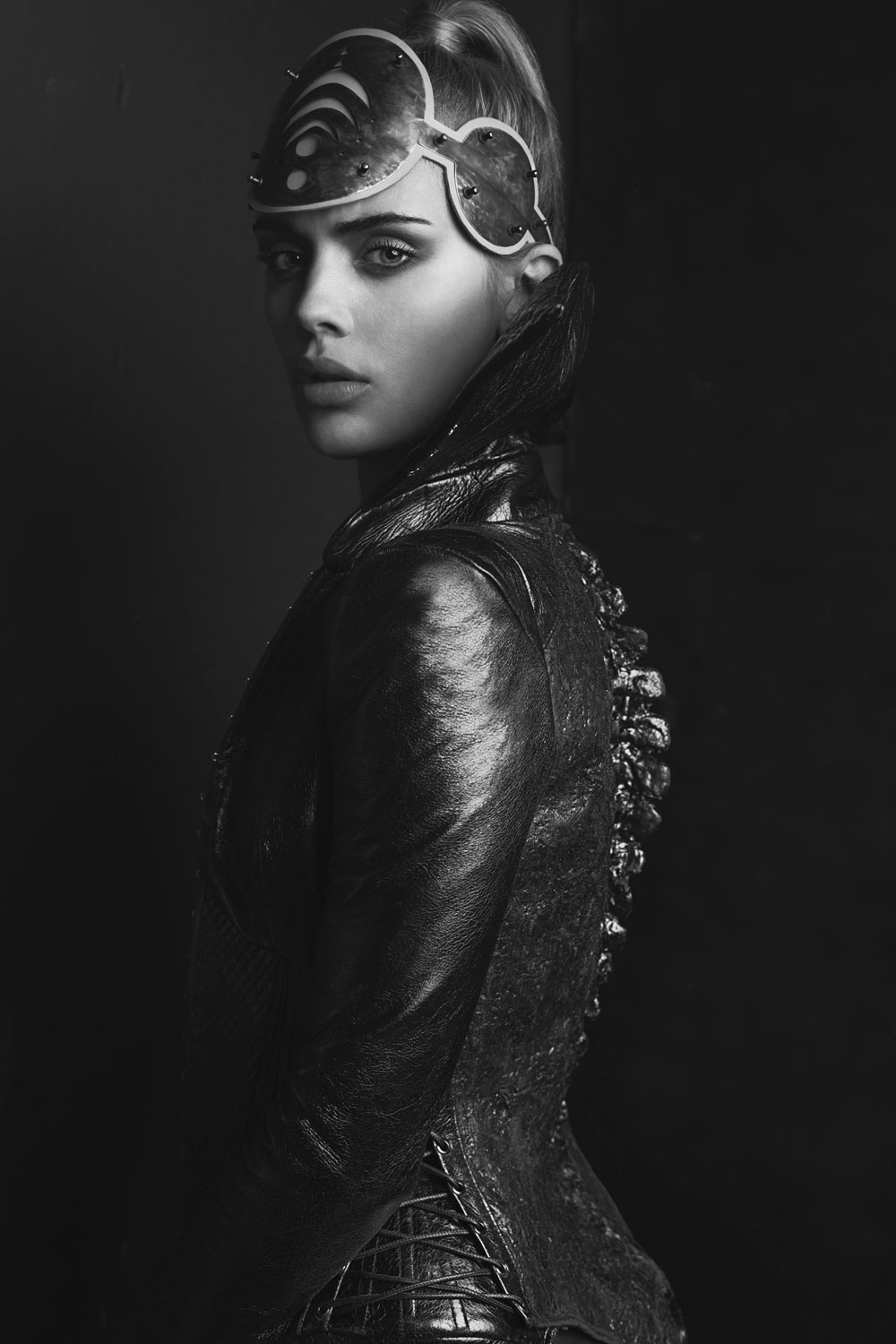 Cosmic headpiece:  Christina Ioannidou ; Leather jacket:  Marko Mitanovski