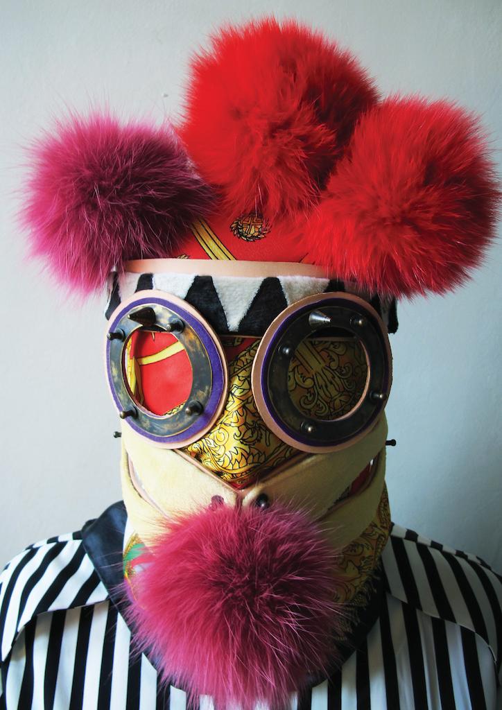 Christina wearing the Rammellzee mask