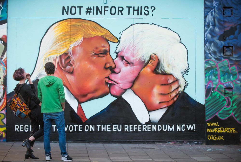 The amazing Kiss of Death Mural, from the Pro-EU group We Are Europe