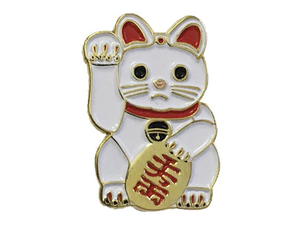 White Maneki Neko Pin by  Inner Decay  £8