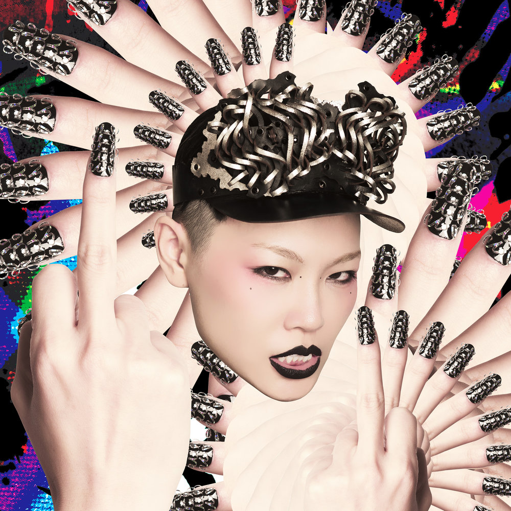 Ada Zanditon Couture Moth Visor; Photo by Tony Tran; Model: Judy Chou; Art Direction: Jens Melsom; Nail Design: Katherine Lawrence