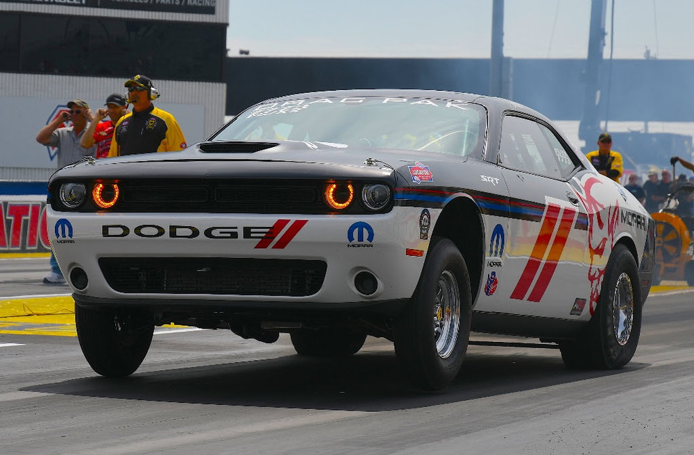 Pritchett competing in her Mopar Dodge Drag Pak during a 2017 Factory Stock Showdown event