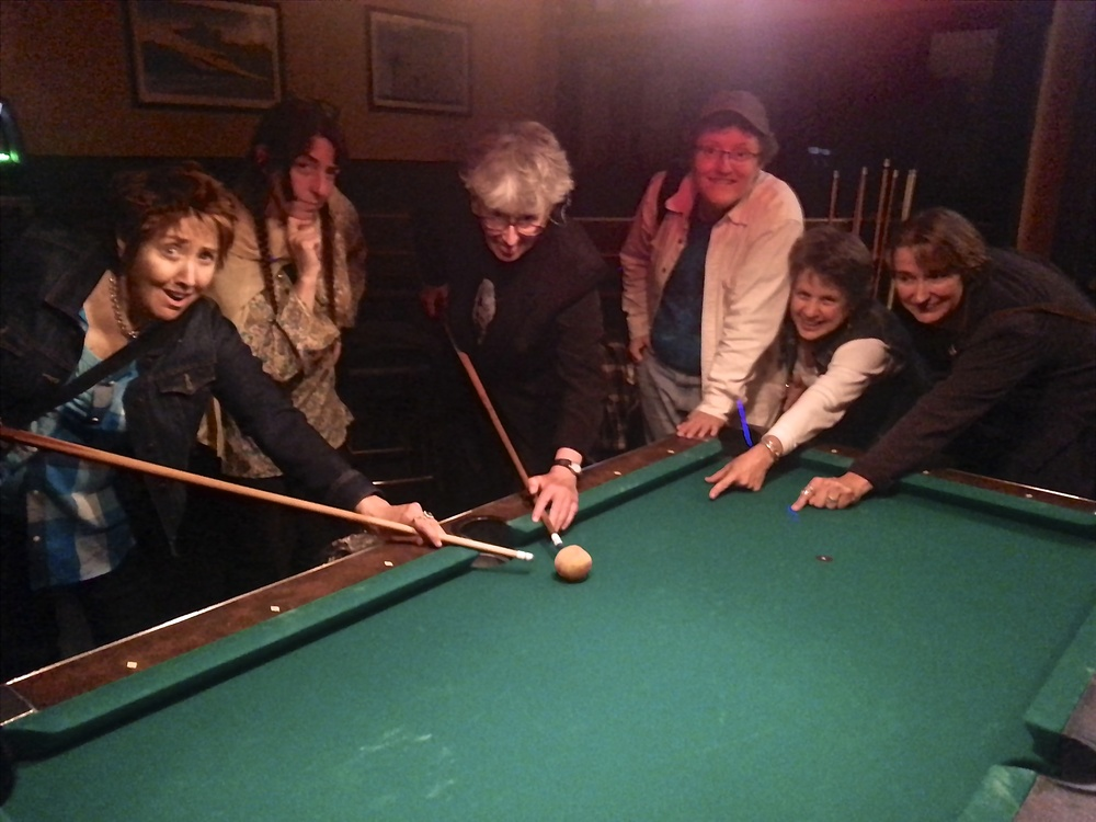 At the pool hall after the show