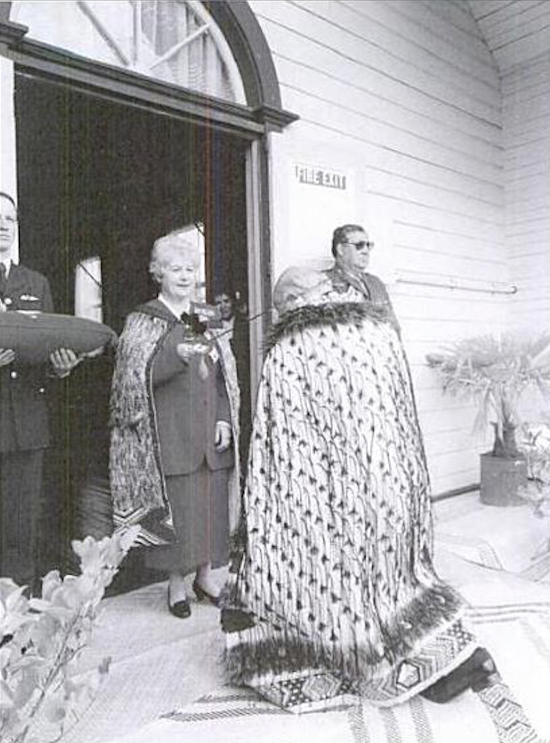 Investiture ceremony 1994 for T  ā   Tipene O'Reagan (conducted by Governor General Dame Catherine Tizzard) was held on the mahau (veranda) of the whare Te Hapa o Niu Tireni, which was built in the nineteenth century and commemorates the Ng  ā  i Tahu claims (A Fire in Your Belly - Paul Diamond, 2003, p48).