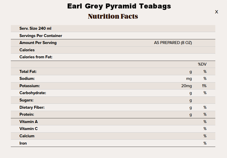 Earl Grey pyramid tea nutritional info.png