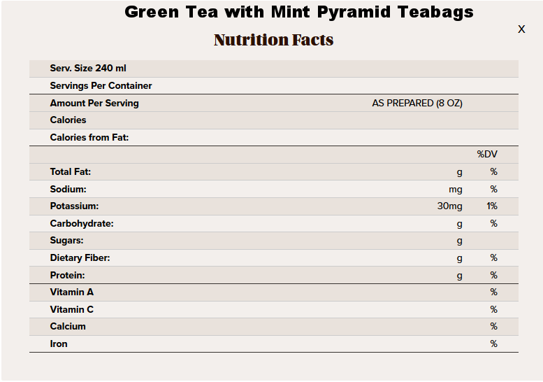green mint pyramid tea nutritional info.png