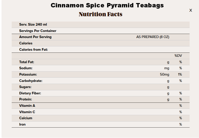 Cinnamon spice pyramid tea nutritional info.png