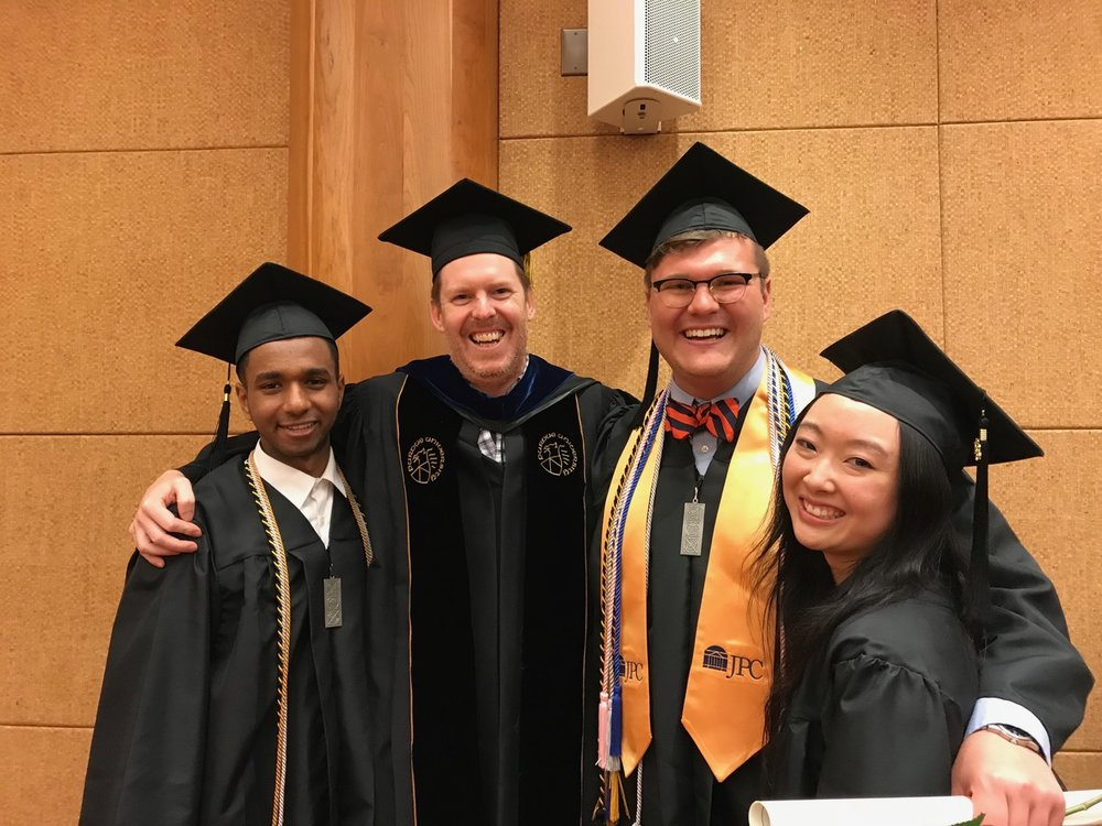 Neuroscience Undergraduate Graduation Ceremony  Left to right: Joseph Ephrem, Christopher Deppmann, Parks Remcho, Lucy Jin
