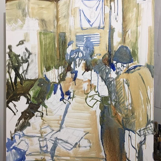 About halfway finished with this one. Taking a break from abstraction to go back to some roots. Enjoying this!  #oiloncanvas #workinprogress #grassroots #politicalactivism #figure #interior #hendersonvillenc #hendersonvillencart #sanctuary