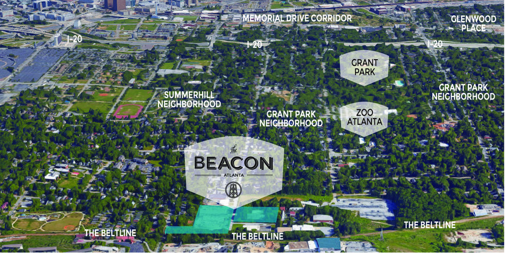 The beacon atlanta sits at the southern end of grant street in the city's historic grant park neighborhood.