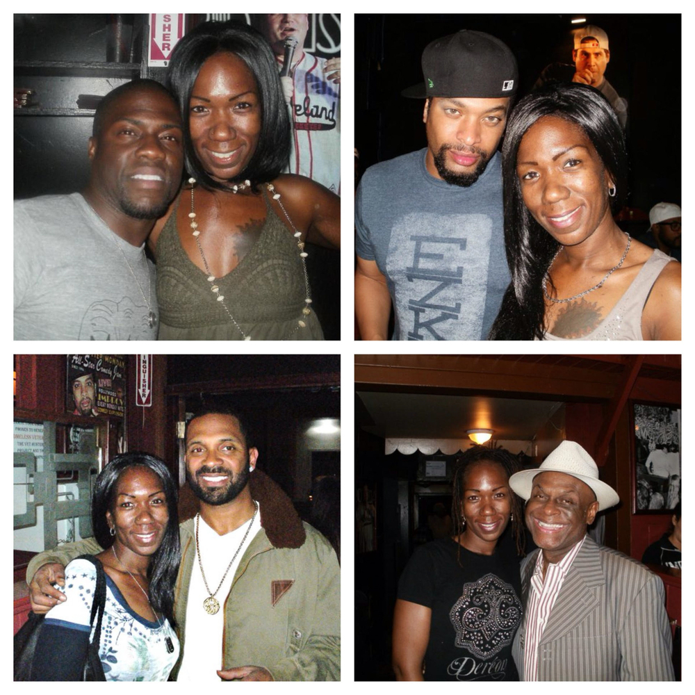 Famous comedians Twyla's met along her journey, clockwise - Kevin Hart, Deray Davis, Mike Epps, Michael Colyar