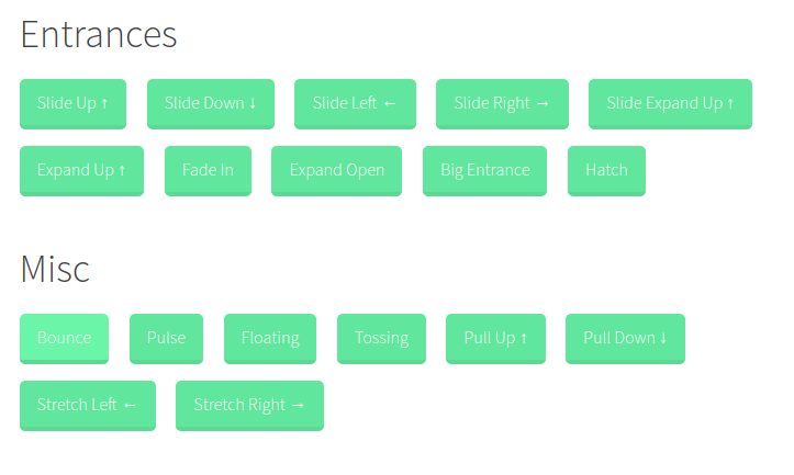 Justin Aguilar's CSS Animation Library Animations