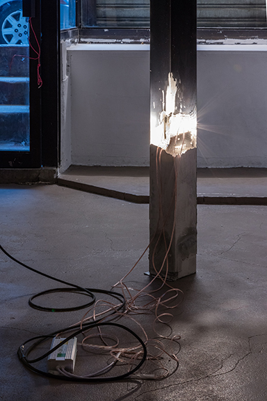 Bryan Dooley,  Prophecies on reality (No1)  (detail), 2016, steel, concrete, copper wire, 12c transformer, halogen lights, rebar, led controller, 85 x 5 x 5 in