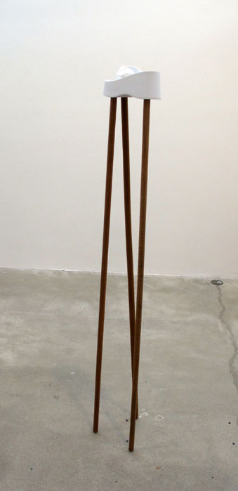 Rose Marcus,  Platform L , 2012, flip flop, broom sticks, 63 x 8 x 8 in