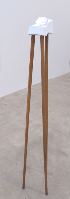 Rose Marcus,  Platform R , 2012, flip flop, broom sticks, 63 x 8 x 8 in