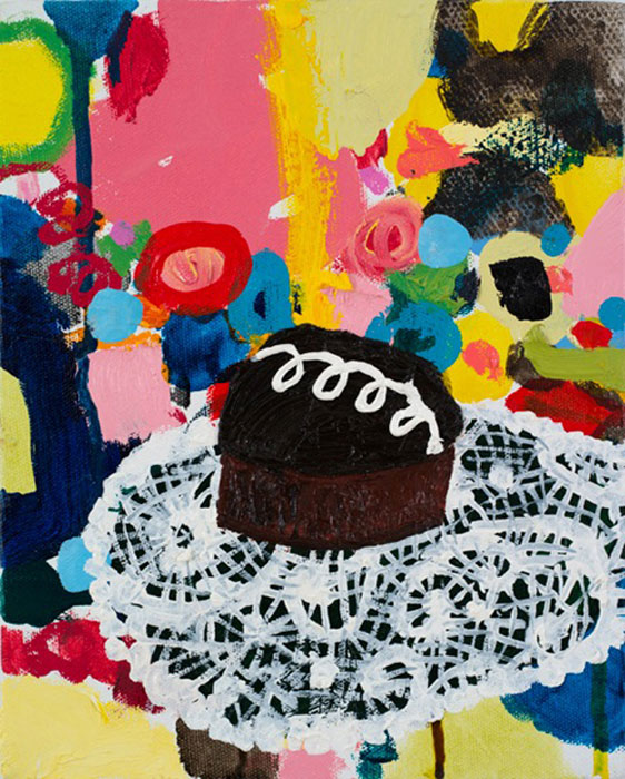 Tracy Miller,  Hostess , 2011, oil on canvas, 10 x 8 in, Courtesy of the artist and Feature, Inc.