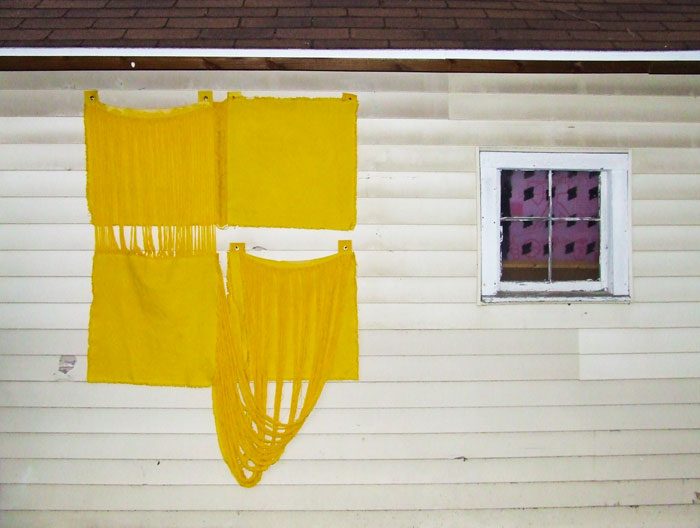 Jess Fuller,  Tootie Fruity , 2011, fabric dye on canvas, 68 x 49 in