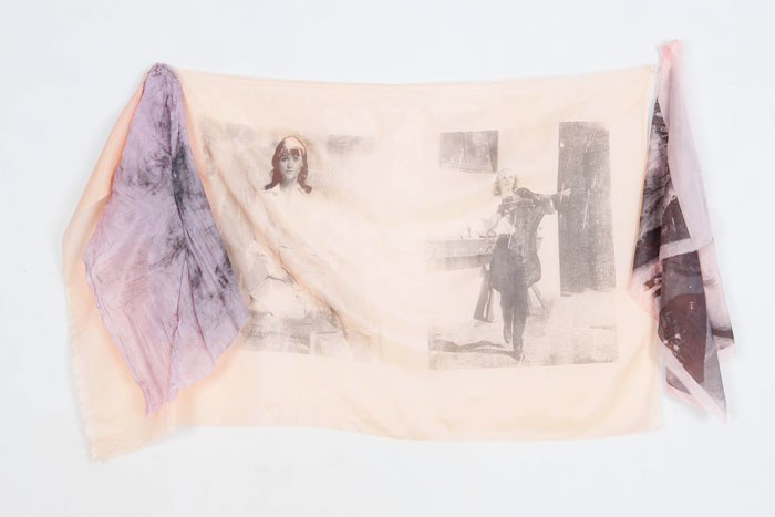 Servane Mary,  Untitled (Purple and Black Margot Kidder, Frances Farmer Horse) , 2011, solvent transfer and mixed media on silk, 23 x 37 in