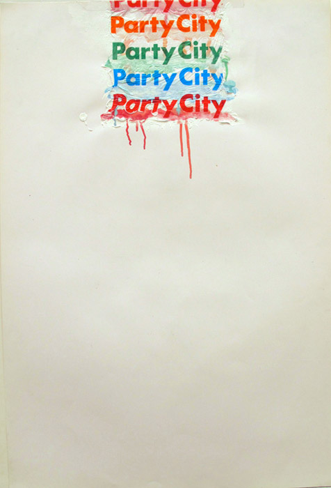 Leif Ritchey,  Party City , 2008, acrylic and collage on poster, 40 x 26 in