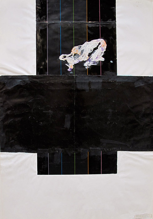 Leif Ritchey,  Untitled , 2007 - 2008, acrylic and collage on poster, 35 x 23 in