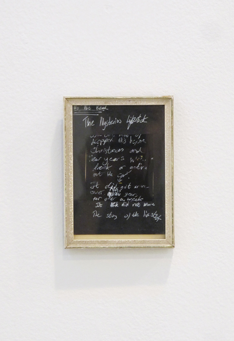 Oliver Griffin,  E.S.: 0a The Mysterious Lipstick , 2002, pen on card in frame, 5 x 3 in