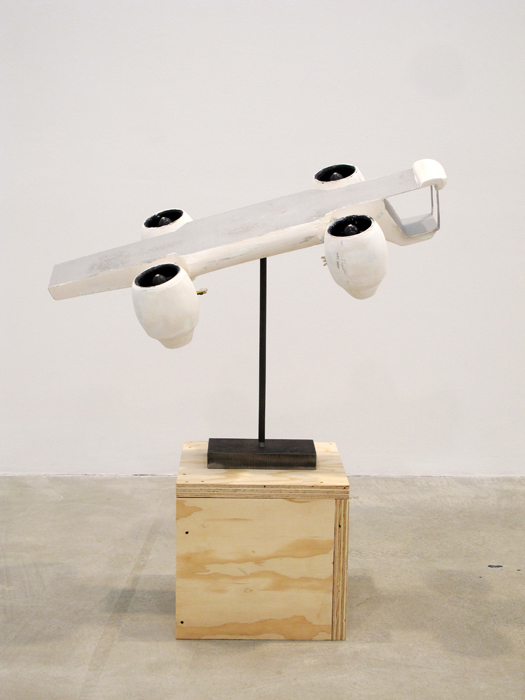 James Capper,  Sky Platform , 2013, foam, paint, steel, mechanics, 23.6 x 28.7 x 14 in
