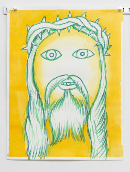 Charles Irvin,  Yellow Jesus , 2016, ink on paper, 12 x 9 in