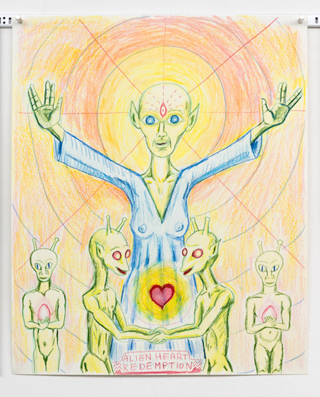 Charles Irvin,  Alien Heart , 2015, color pencil on paper, 17 x 14 in