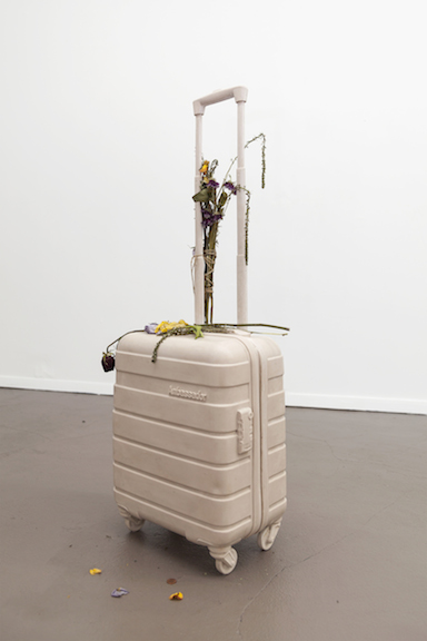 Miami-Dutch,  Ghost Bag , 2015, aquaresin, fiberglass, flowers, 40.5 x 14.5 x 9 in