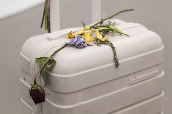 Miami-Dutch,  Ghost Bag  (detail), 2015, aquaresin, fiberglass, flowers, 40.5 x 14.5 x 9 in