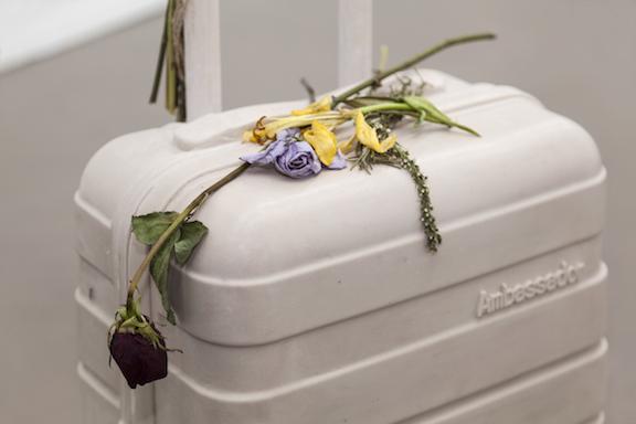 Miami-Dutch, Ghost Bag  (detail), 2015,aquaresin, fiberglass, flowers,40.5 x 14.5 x 9 in