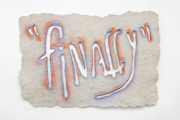 Miami-Dutch,  Untitled , 2015, newspaper pulp, abaca fiber, abaca pulp,  spray paint, 40 x 59 x 0.5 in