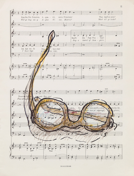 Miami-Dutch,  London Street Cries (Glasses)  (detail), 2015, ink and color pencil on sheet music, 12 x 9 in