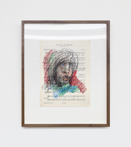 Miami-Dutch,  London Street Cries (Portrait) , 2015, ink and color pencil on sheet music, 12 x 9 in