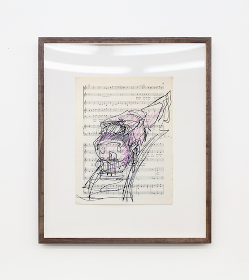 Miami-Dutch,  London Street Cries (Train) , 2015, ink and color pencil on sheet music, 12 x 9 in