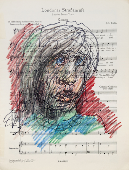 Miami-Dutch,  London Street Cries (Portrait)  (detail), 2015, ink and color pencil on sheet music, 12 x 9 in