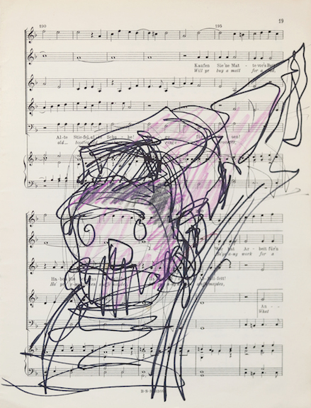 Miami-Dutch,  London Street Cries (Train)  (detail), 2015, ink and color pencil on sheet music, 12 x 9 in