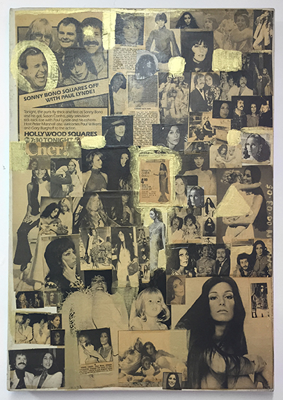 Tabboo! (Stephen Tashjian),  1970's Cher , 2006, acrylic, collage on canvas, 26 x 18 in