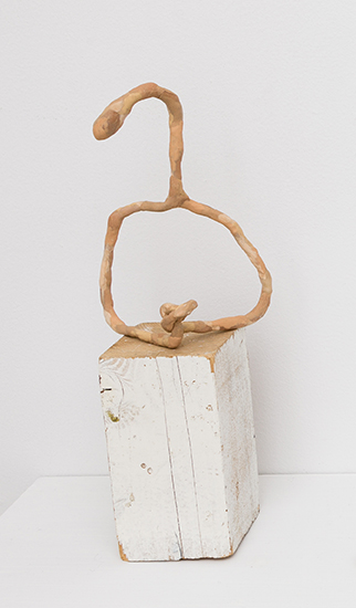 Kricket Lane,  Graft No.3 (Hanger-Oner),  2012, polymer clay on wire, wood base, 13 x 7 x 4 in