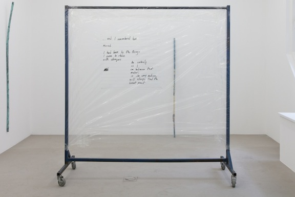 Win McCarthy,  As certainly as I , 2014, inkjet print on acetate, poly-vinyl sheeting, PVC tape, clothing rack, 68 x 65.75 x 26 in