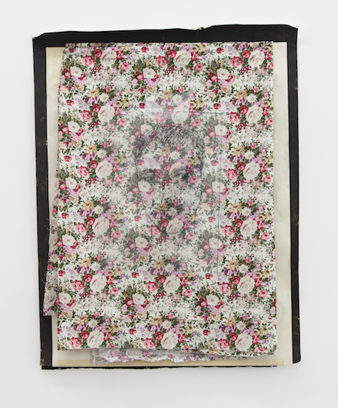 David Flaugher and Win McCarthy,  Sweet Potato , 2014, transparency with floral fabric, tape, paint and watercolor on paper, 23 x 18 in