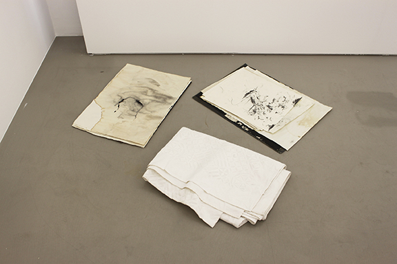 David Flaugher,  2 stacks, 15 individual drawings, 1 blanket , n.d., mixed media, dimensions variable