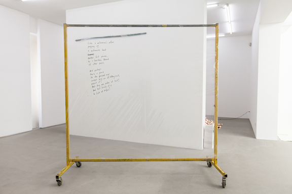 Win McCarthy,  A millionaire's pillow , 2014, inkjet print on accetate, poly-vinyl sheeting, PVC tape, clothing rack, 68 x 65.75 x 26 in