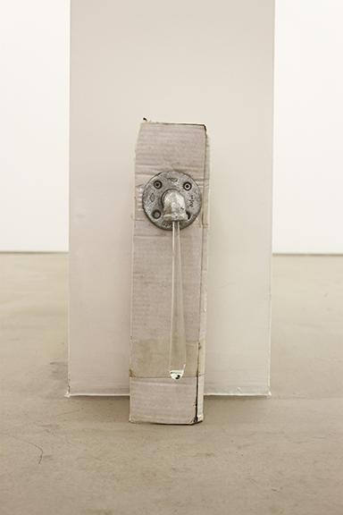 Win McCarthy,  The Long Drain (mini) , 2014, glass, pipe fitting, cardboard box, 15.75 x 4.3 x 7.9 in