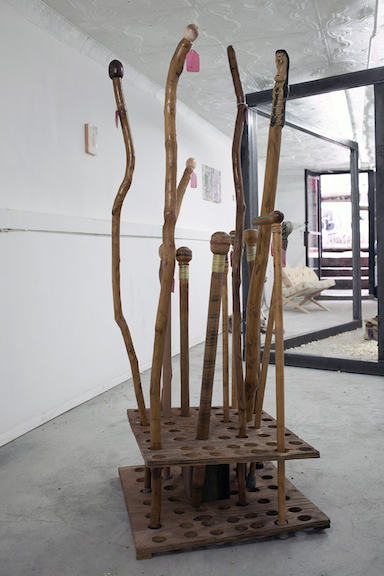 Bruce Asch,  various handmade wooden canes , wood, mixed media, dimensions variable