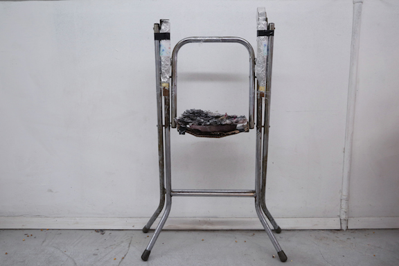JPW3,  IST , 2014, steel, incense, mixed media, 34 x 17 in