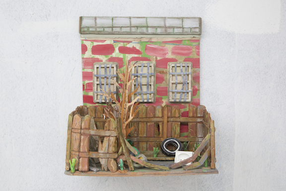 Nicholas Buffon,  Abandoned Lot , 2014, foam core, paper, glue, paint, 17 x 15.75 x 8 in